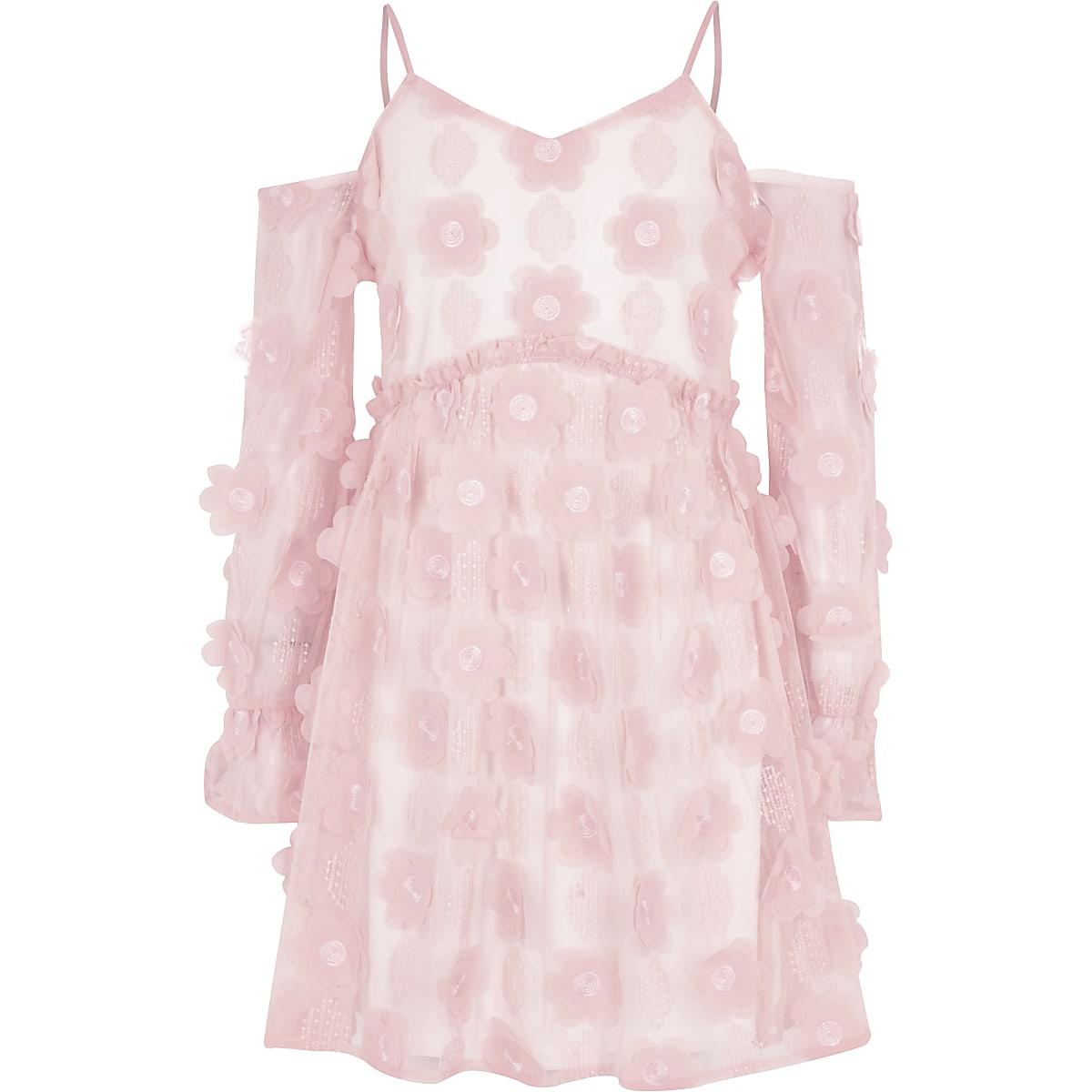 Roze schouderloze jurk met bloemenprint voor meisjes