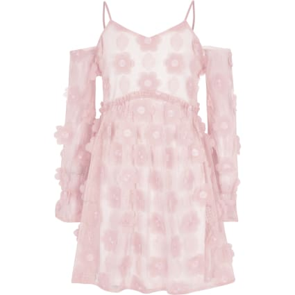 Girls pink flower cold shoulder dress