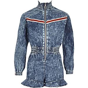 Combi-short en denim bleu zippé sur le devant pour fille