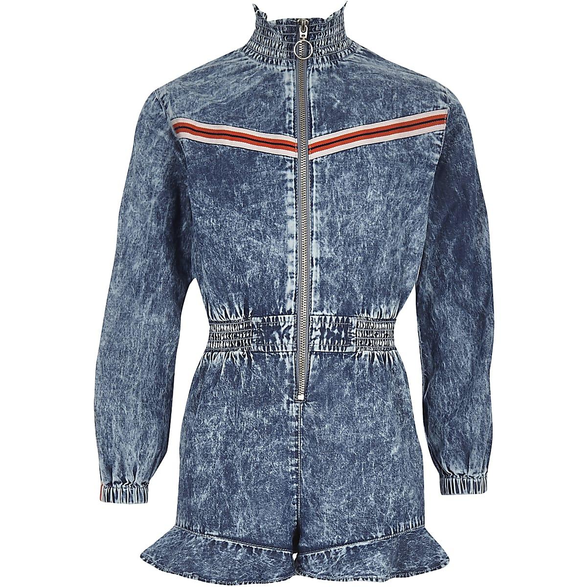 Girls blue denim zip front playsuit