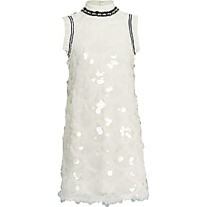 Girls white sequin shift dress