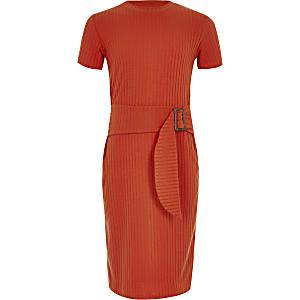 Rode geribbelde jurk met ceintuur voor meisjes