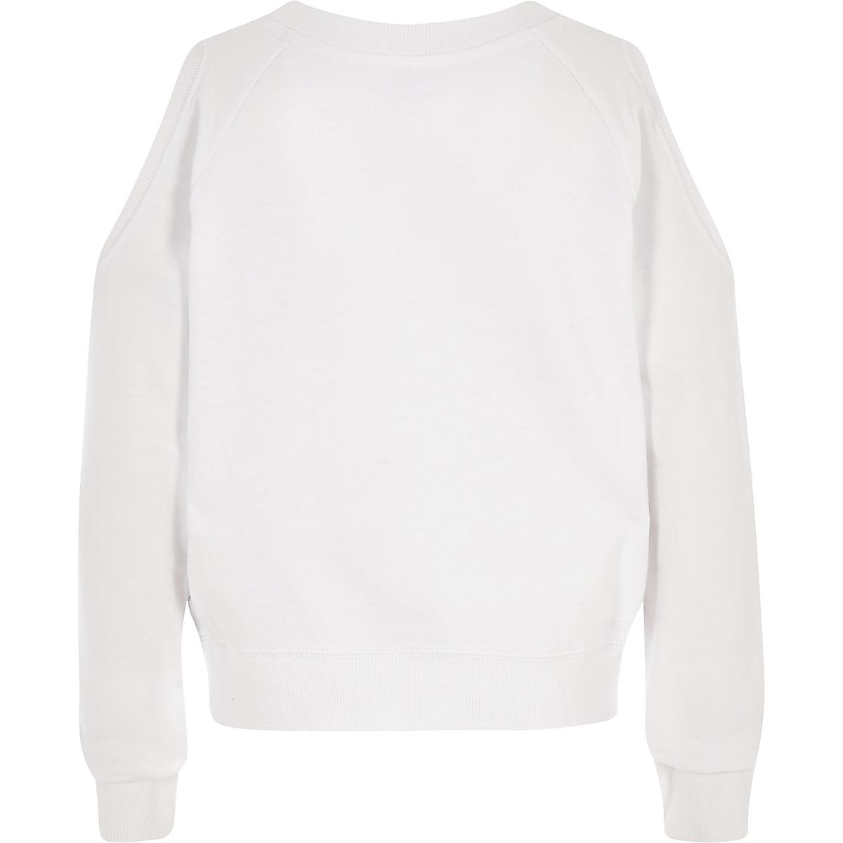 b067fd0daf5a Girls white Converse crop sweatshirt - Hoodies   Sweatshirts - Tops ...