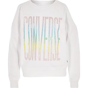 Converse crop sweatshirt in wit voor meisjes