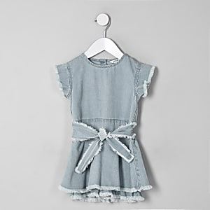 Mini girls blue denim fray skort romper