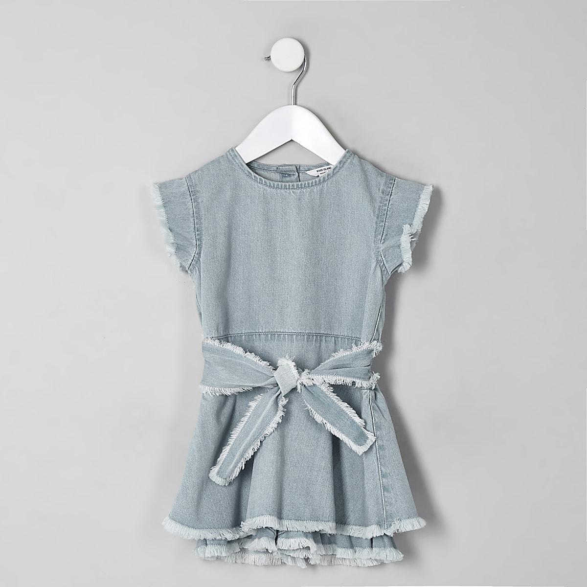 Mini girls blue denim fray skort playsuit