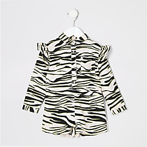 Mini girls pink zebra playsuit