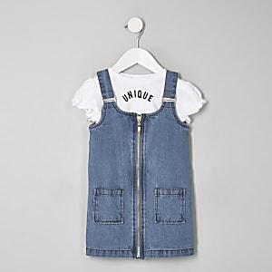 Mini girls blue denim pinafore dress outfit