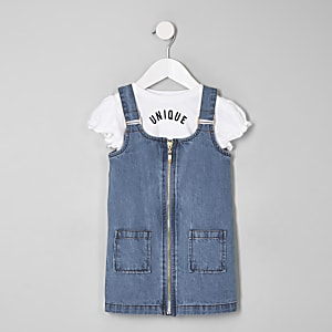 Ensemble rose chasuble en denim bleue mini fille
