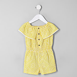Mini girls yellow gingham bardot romper