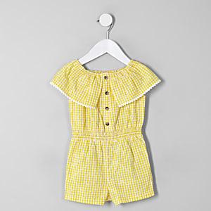 Mini - Gele geruite playsuit in bardotstijl voor meisjes
