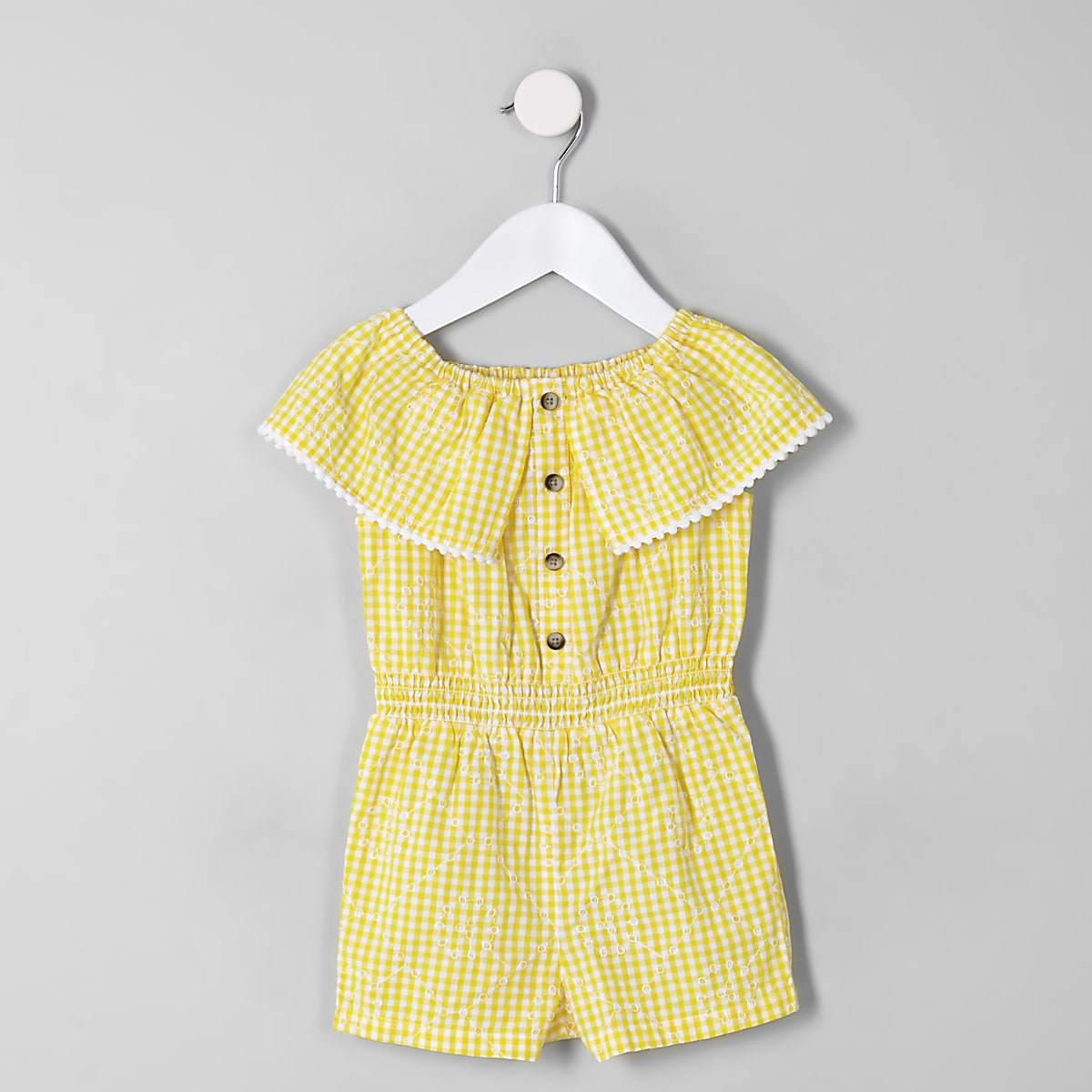 Mini girls yellow gingham bardot playsuit