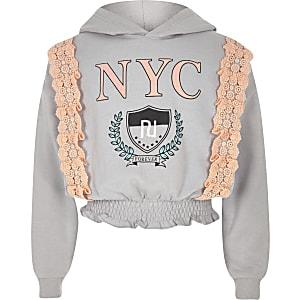 Girls grey 'NYC' lace trim hoodie