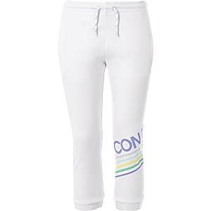 Pantalon de jogging à logo Converse blanc pour fille