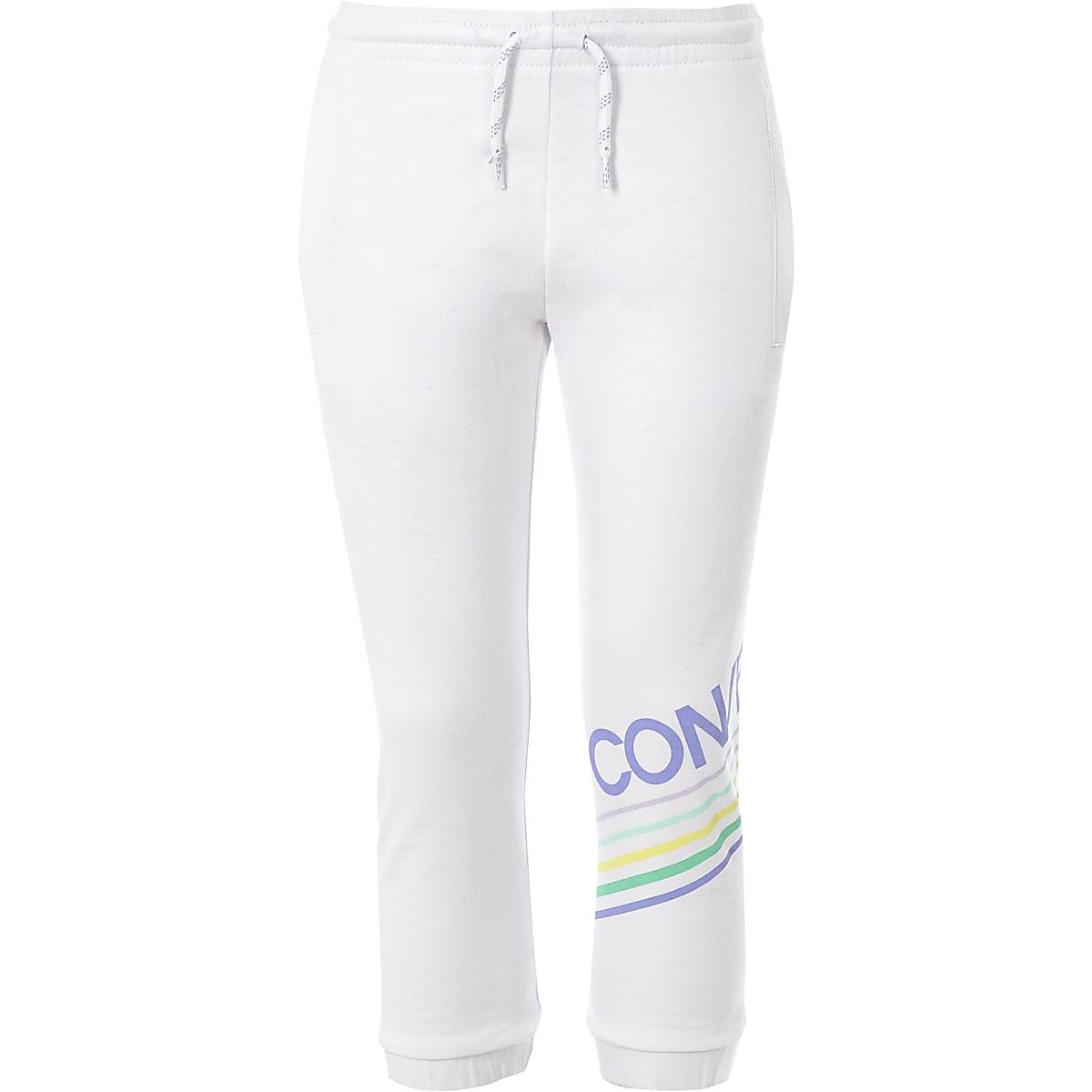 Girls white Converse logo joggers