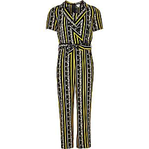 Girls yellow animal print stripe tux jumpsuit