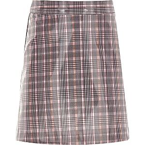 Girls pink check coated mini skirt