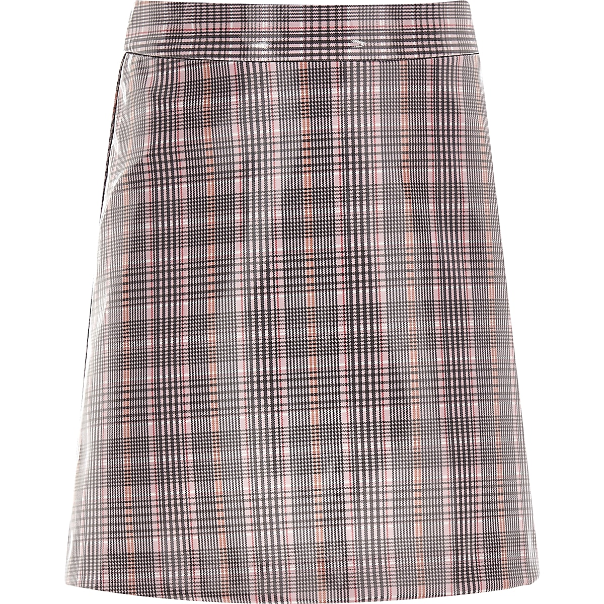 Girls pink check coated mini skirt