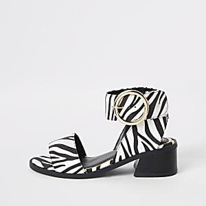 Sandales imprimé zèbre blanches à talon carré pour fille