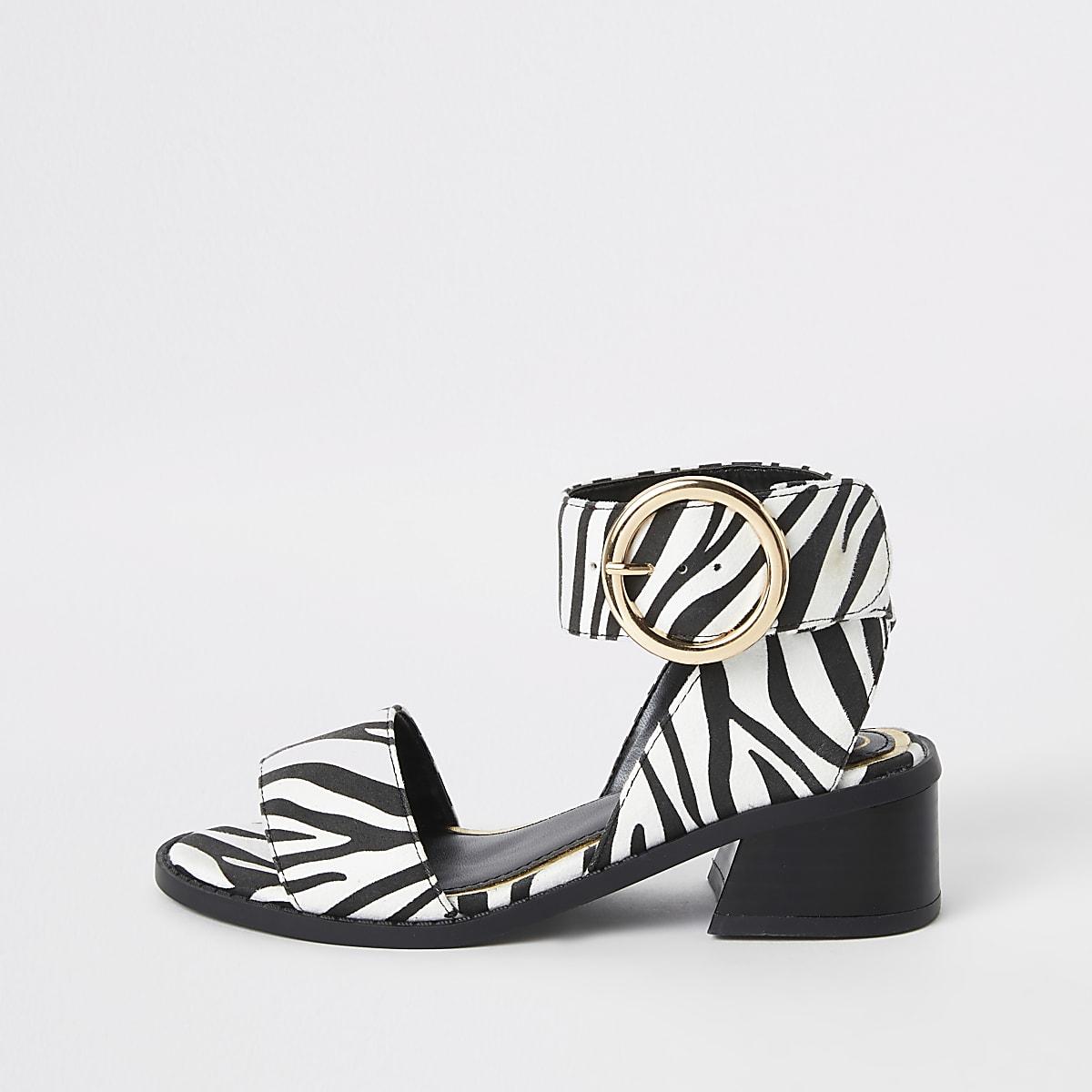 Girls white zebra print block heel sandals