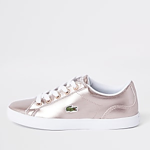 Girls Lacoste pink lace up sneakers