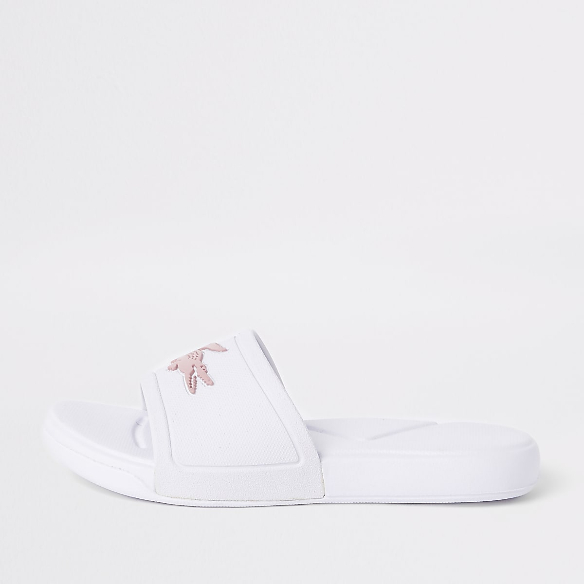Girls Lacoste white embossed sliders