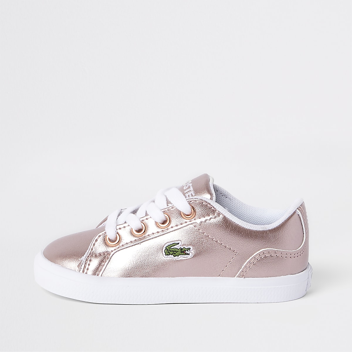 6c8d8697c7c19a Mini girls Lacoste pink lace up trainers - Baby Girls Trainers - Baby Girls  Shoes   Boots - Mini Girls - girls