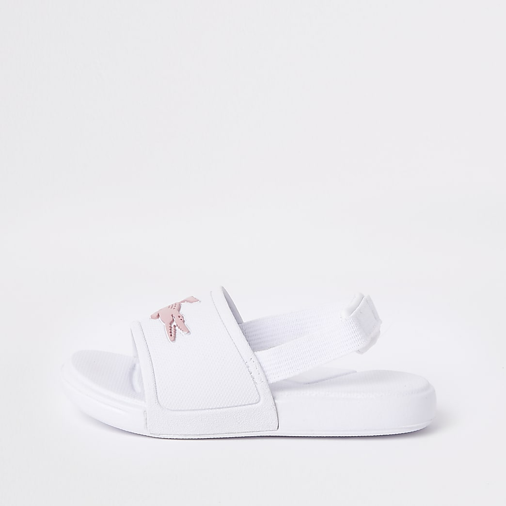 Mini girls Lacoste white embossed sliders