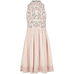 Robe de gala rose à fleurs et sequins pour fille