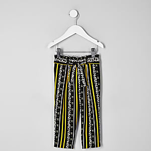 Mini girls black leopard stripe trousers