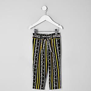 Pantalon léopard rayé noir mini fille