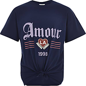 Girls navy 'Amour' tie front T-shirt