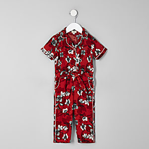Mini girls red floral shirt jumpsuit