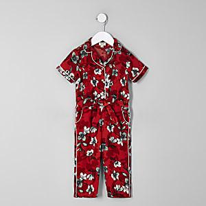 Mini girls red floral shirt jumpsuit
