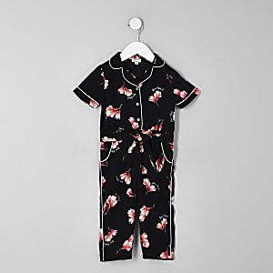 Mini girls black floral shirt jumpsuit