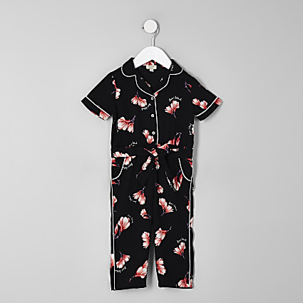Mini girls black floral shirt jumpsuit
