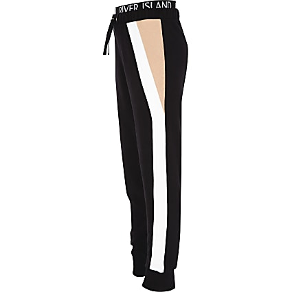 Girls RI Active black colour block joggers