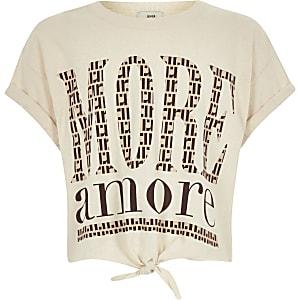 Beige cropped T-shirt met strik voor en print voor meisjes