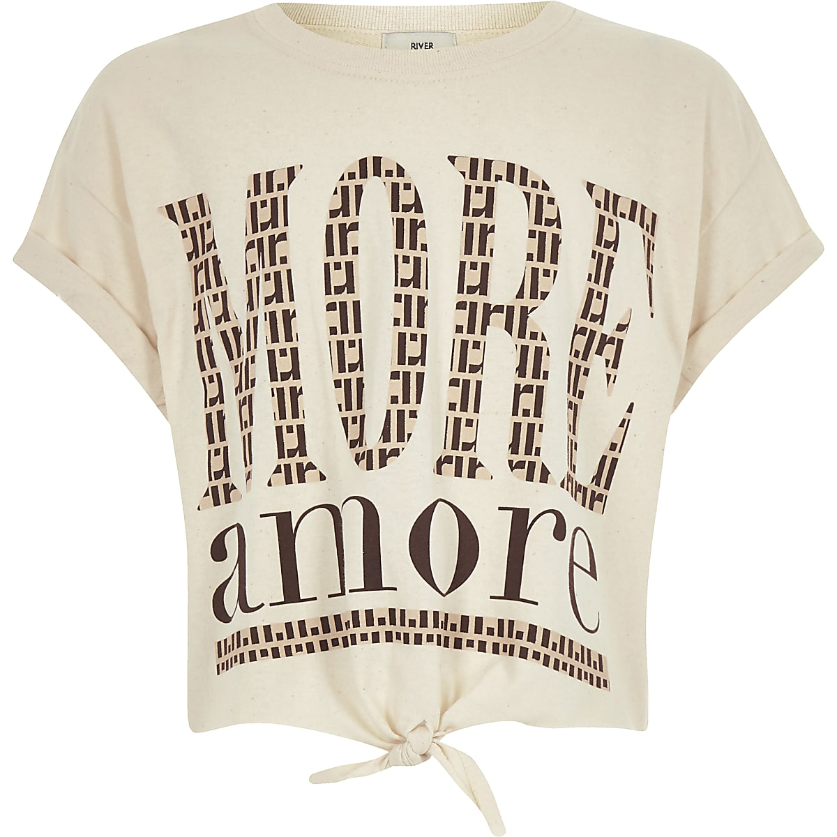 Girls beige print tie front cropped T-shirt