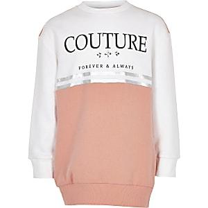 Roze sweatshirt met 'Couture'-print en kleurvlakken voor meisjes