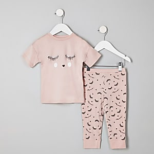 f8498c0b65eb5 Mini girls pink  eyelash  pyjama set