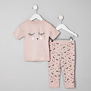 "Pinkes Pyjama-Set ""Eyelash"""
