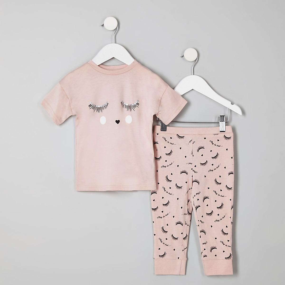 Mini girls pink 'eyelash' pajama set