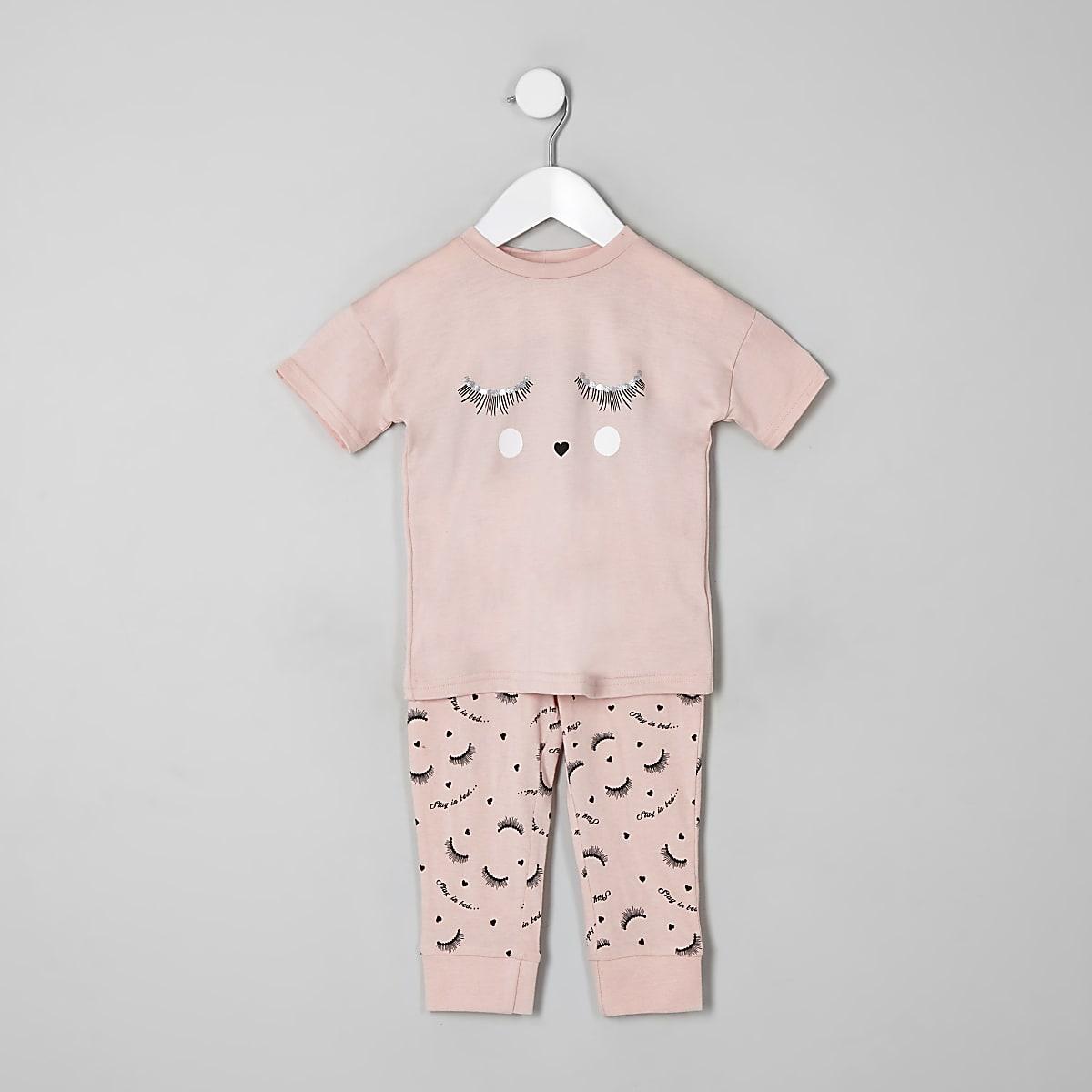 dca996b51e Mini girls pink 'eyelash' pyjama set - Baby Girls Pyjamas ...