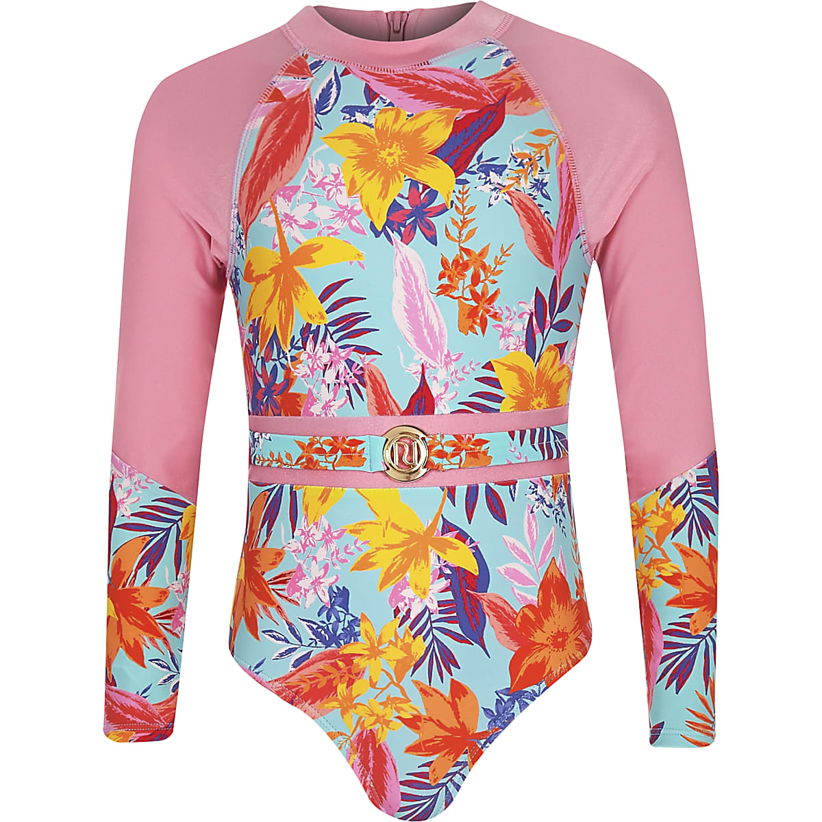 Girls blue tropical print belted swimsuit