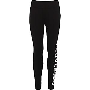 Converse - Zwarte legging met logo voor meisjes