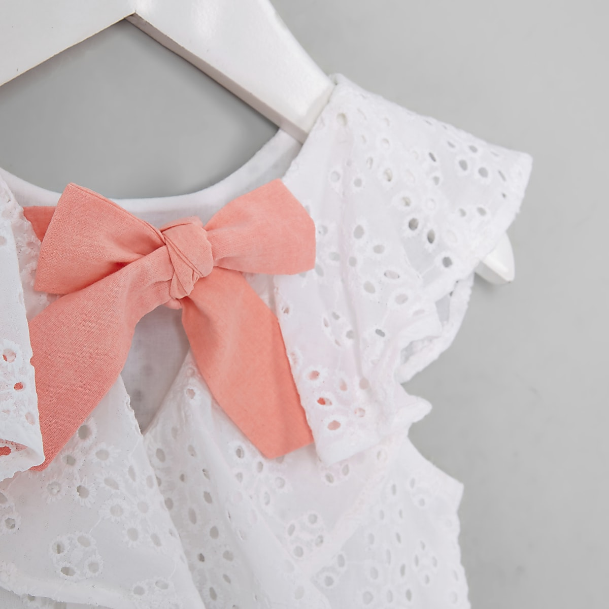3e71e31dba5387 Mini girls cream broderie trapeze dress - Baby Girls Dresses - Mini ...