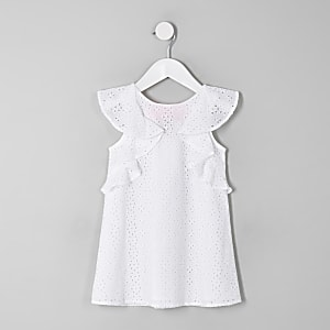 Mini girls cream broderie trapeze dress