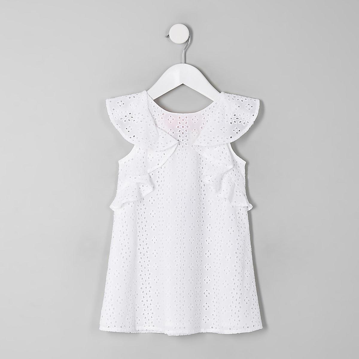8e2b865de928c6 Mini girls cream broderie trapeze dress - Baby Girls Dresses - Mini Girls -  girls