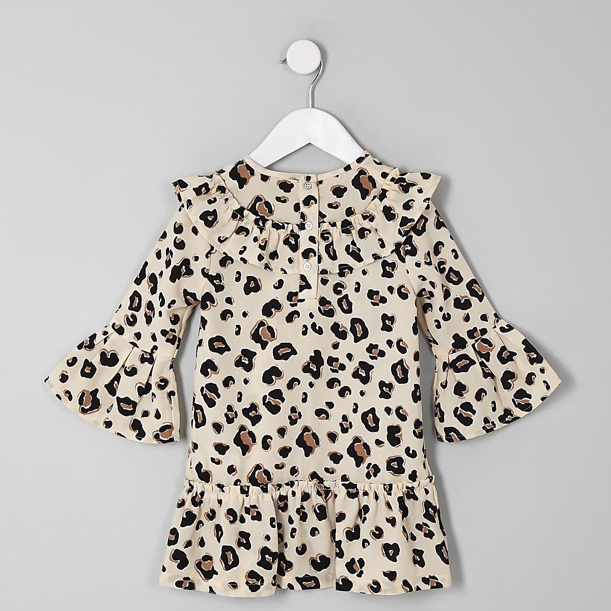 97932be99734cb Mini girls brown leopard print swing dress - Baby Girls Dresses ...